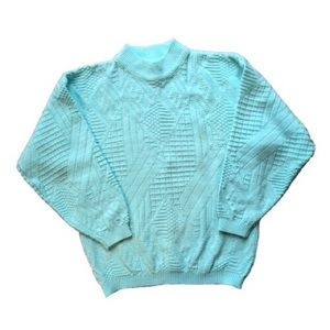 90's Vintage Textured Knit Teal Pullover Sweater